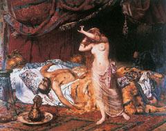 Attila halála egy romantikus magyar festő (Paczka Ferenc) képén (1855)