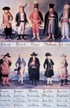 Völkertafel Stájerországból a 18. század elejéről,amelyen a különböző európai népekfőbb jellemzőit ábrázolták. Jellegzetes ruháikbanmutatták be a spanyol, francia,olasz, német, angol, sváb, lengyel, magyar,orosz és török/görög nép képviselőit