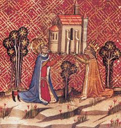 Szent István és felesége, bajor Gizella megalapítják az óbudai egyházat. Képes Krónika