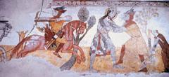 Szent László küzdelme a pogány vitézzel. Kakaslomnic (Szlovákia), freskó