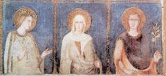 Magyar szentek az Assisi Szent Ferenc-Bazilika falfestményein (1317). Balról jobbra: Szent Erzsébet, Szent Margit, Szent Imre.