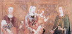 Magyar szentek az Assisi Szent Ferenc-Bazilika falfestményein (1317). Balról jobbra: Szent István, Szűz Mária, Szent László