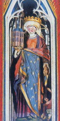 Árpád-házi Szent Erzsébet szobra a róla elnevezett templomban Marburgban. Arcáról az önzetlen szeretet, mozdulatából a segítő szándék látszik
