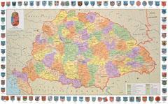 Magyarország vármegyéi a Magyar Királyság és a megyék címerével