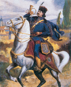 II. Rákóczi Ferenc lovas-postása a hírvivőt jelképező trombitával